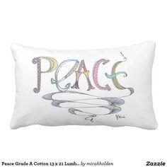 Peace Grade A Cotton 13 x 21 Lumbar Throw Pillow