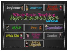 Wall cards for your Super Improvers Team wall to implement Whole Brain Teaching. These cards do not have a specific theme. I took the words from a variety of sources and chose the ones that best fit my classroom.