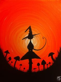 The Witches Hat No2 -  8 x 10, acrylic on canvas, ready to hang, ORIGINAL by Michael H. Prosper. $25.00, via Etsy.