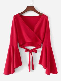 Young Elegant Plain Wrap Top Slim Fit V Neck Long Sleeve Flounce Sleeve Red Crop Length Bell Sleeve Knotted Hem Surplice Blouse Trend Fashion, Teen Fashion Outfits, Stylish Outfits, Girl Fashion, Fashion Dresses, Cute Outfits, Swag Fashion, Blouse Styles, Blouse Designs