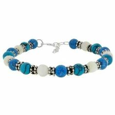 """Genuine Mother of Pearl, Denim Lapis, and Reconstituted Turquoise Silver Bali Bead Bracelet 7-8"""" SilverSpeck.com. $14.99"""