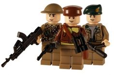 WW2 - British 3 Man Squad - Customised Lego Figures