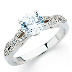 14kt White 3/4 CTW Diamond Engagement Ring | I love the infinity detail in the band. There are many factors to price this ring. Namely, the size and characteristics of the centre stone