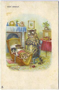 Louis Wain gato do berço série 1261 assinado dobra Vintage postal in Colecionáveis, Cartões postais, Assinados pelo artista   eBay