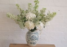 Festive jug, Flower Appreciation Society A delightfully old-fashioned looking arrangement of snowy delphiniums, astrantia, hydrangeas and ammi