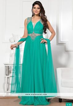 Turquoise Diamond Work Party Wear Readymade Gown-6009