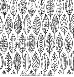 Vector seamless pattern with ethnic tribal style ornamental leaves. Can be printed and used as wrapping paper, wallpaper, textile, fabric, coloring page, etc. #yuliiabahniuk #illustration #doodle #doodling #ethnic #tribal #ornament #drawing