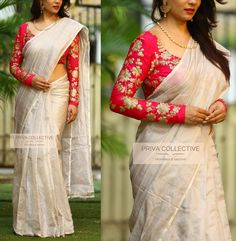 Looking for latest full sleeve blouse designs for silk sarees ? check out 11 pretty inspiring blouse ideas and patterns to look great on this combination. Kerala Saree Blouse Designs, Saree Blouse Patterns, Designer Blouse Patterns, Cotton Saree Blouse Designs, Blouse Back Neck Designs, Fancy Sarees, Party Wear Sarees, Trendy Sarees, South Silk Sarees