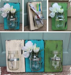 Mason Jar Wall Vase  D.I.Y for your bathroom toothbrushes and stuff! Could use on an outside wall with flowers or tea light candles