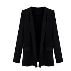 Fashionmore Womens Solid Notch Lapel 34 Sleeve Blazer Jacket Black XL * Click image to review more details.
