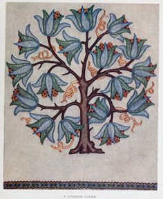 Embroidered cushion design from 1909 Embroidery book.