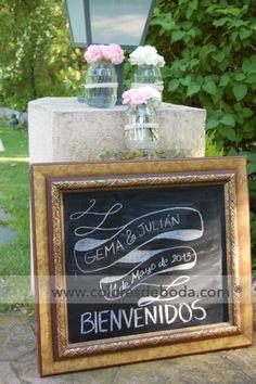 Welcome board Pizarra de bienvenida