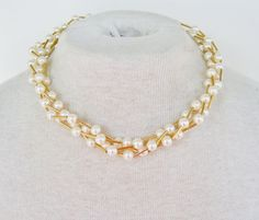 Vintage 1987 Traditional Preppy Signed Avon Cashmere Necklace Cream Ivory Faux Pearl Goldtone Tube Beaded Torsade Multi Four Strand Necklace by ThePaisleyUnicorn, $20.00