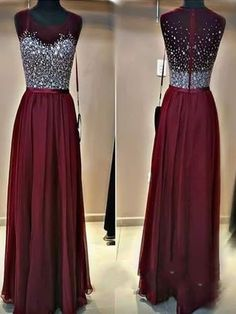 Long Custom Prom Dress,Burgundy prom dress, Beaded prom
