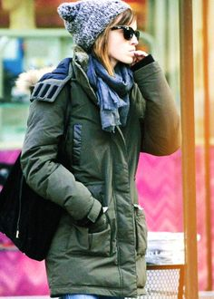 Emma Watson- I wish it got cold enough at home to wear this stuff.