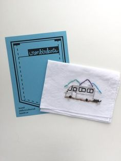 The travel buddy companion hankie. Hand embroidered, washable, reusable, handy in life situations. Under $25 by wrenbirdarts