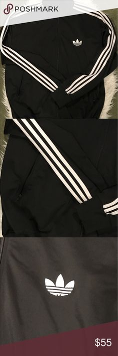 Adidas Original Track Zip Up Jacket (hip hop style) I believe this has been worn only once/ twice so it's basically still new. 2x size. No flaws me freshly washed. Any questions please ask and reasonable offers welcomed. adidas Sweaters Zip Up