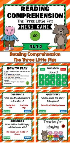 """Engage students with this fun, interactive reading comprehension game. In this mini game, students must answer questions about the book """"The 3 Little Pigs."""" Because there are so many different versions of this story,  this game is editable so the question Reading Comprehension Games, Guided Reading Groups, Reading Strategies, Reading Activities, Classroom Activities, Fun Activities, Too Cool For School, School Stuff, Powerpoint Games"""