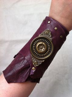 Wraparound Leather Cuff Bracer Rawedged Distressed Purple Lamb Leather with Vintage Doorplate by DejaLaVogue, $47.00