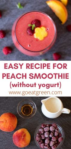 Aug 6, 2021 - Healthy recipe for peach smoothie without yogurt or banana. Easy non-dairy vegan beverage naturally sweetened with peaches and maple syrup. Yummy Smoothies, Yummy Drinks, Healthy Drinks, Smoothie Recipes, Healthy Juices, Smoothie Bowl, Healthy Eating, Yummy Food, Easy To Make Breakfast