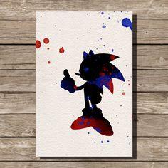 Sonic the Hedgehog watercolor illustrations art children's room wall art art home decor nursery art sega video game Game Room Kids, Kids Room Art, Art For Kids, Art Children, Animal Nursery, Nursery Art, Art Et Illustration, Illustrations, Deco Gamer