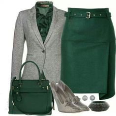 Green and gray sleek outfit, except the shoes , i would NOT wear those lol