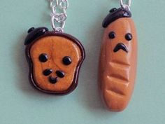 Kawaii French Bread Polymer Clay Best Friend Necklaces (credit: Pumpkin Pye Boutique)