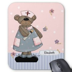 Funny Teddy Bear design Happy Nurses Week / Happy Nurses Day / Thank You Nurse / Nurse's Birthday / Graduation from Nursing School / Any occasion Gift Mouse Pads for nurses with customizable name. Matching cards in various languages, postage stamps and other products available in the Business Related Holidays / Healthcare Category of the artofmairin store at zazzle.com