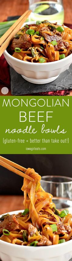 Mongolian Beef Noodle Bowls taste just like take out, swapping rice for chewy rice noodles! #glutenfree | iowagirleats.com