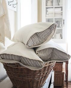 Pillows are NOW AVAILABLE!!! Etsy.com/shop/farmhousesupply #farmhousesupply #tickingpillows #linenpillows