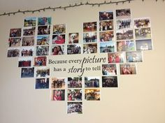 Create a photo wall without picture frames - Ideas and suggestions- Fotowand gestalten ohne Bilderrahmen – Ideen und Anregungen Photo wall without picture frame Wall decal heart shape -