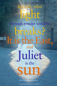 """But soft, what light through yonder window breaks? It is the East, and Juliet is the sun."" -Romeo and Juliet, by William Shakespeare"