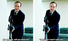 """""""If I come out, will you shoot me? 'Cause then I won't come out."""""""