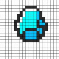 Minecraft Diamond Perler Bead Pattern | Bead Sprites | Misc Fuse Bead Patterns