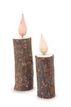 Deko-Holzkerzen Kerzen aus Holz Weihnachten Baumstamm | eBay