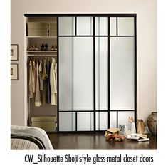Simple, modern take on shoji screen for closet doors