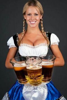 German barmaid in braids wearing dirndl and holding pitchers of beer. German Girls, German Women, Octoberfest Girls, Beer Girl, Gorgeous Women, Pin Up, Celebrity, Carnival, Brunettes