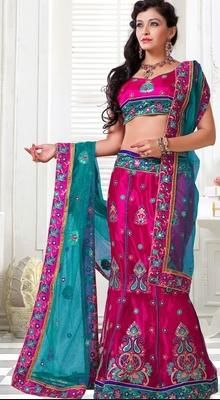 This majesty pink net a line lehenga choli has cord work, multi, patch work, resham & sequins work. #WeddingLehengaCholi
