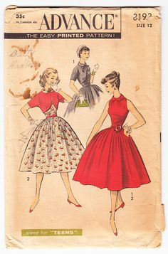 Vintage 1953 Advance 8193 Sewing Pattern Teen's Dress and Bolero Size 12 Bust 30