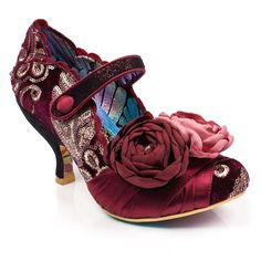 These sumptuous velveteen heels evoke a vintage almost regal feel, so snap these up and you'll be feeling like blooming royalty. Featuring a draped velvet detail across the toe leading into a two gorgeous velvet peony's.The upper consists of a swirling Crazy Shoes, Me Too Shoes, Irregular Choice Shoes, Floral Heels, Wow Products, Girls Shoes, Bootie Boots, Personal Style, Vintage Fashion