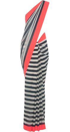 Black and white striped sari with neon coral border by ATSU. Shop at http://www.perniaspopupshop.com/designers-1/atsu/atsu-7330