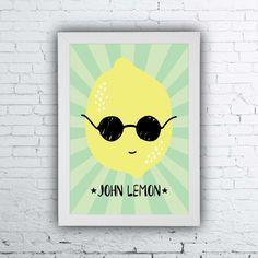 Quadrinho John Lemon, John Lenon poster, Lemon Illustration