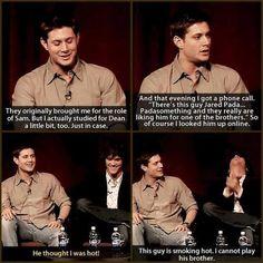 """He thought I was hot"" Jensen Ackles and Jared Padalecki / Supernatural Misha Collins, Sam Dean, John Barrowman, Destiel, Sons Of Anarchy, Fangirl, 4 Panel Life, Cw Series, Supernatural Memes"