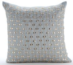 Blue Decorative Pillows Cover Light Blue Beaded Lattice https