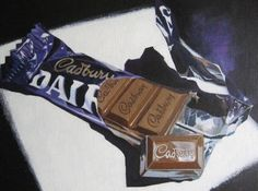 Delicious Diva by April Jarocka - Painting of Cadburys Dairy Milk 110 chocolate paintings by April Jarocka Original is framed and available See wwwa. Chibi Food, Food Artists, Food Drawing, Drawing Tips, Food Painting, Irish Art, Expressive Art, A Level Art, Art Courses