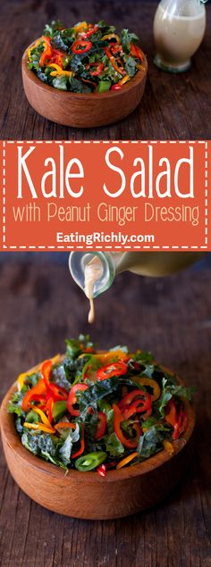 Healthy Asian kale salad recipe that's vegan, gluten free, and so easy to make. From EatingRichly.com
