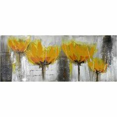 "Possibly in formal living room?  I think it would look good with table in formal dining? Canvas oil painting of a yellow flowers on a gray background.  Product: Wall artConstruction Material: Canvas and woodDimensions: 21.5"" H x 53"" W x 1.5"" D"