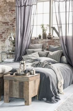 Grey bedroom | industrial but feminine