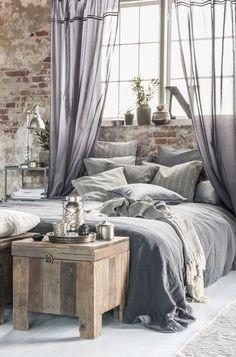 Grey bedroom | industrial but feminine