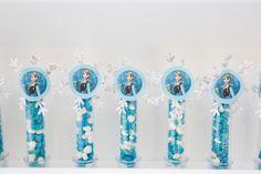 Tubinhos de ensaio decorados festa Frozen